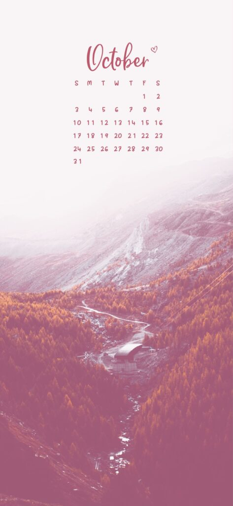 October Calendar Phone Wallpaper Background Fall Mountain River And Forest Scenery
