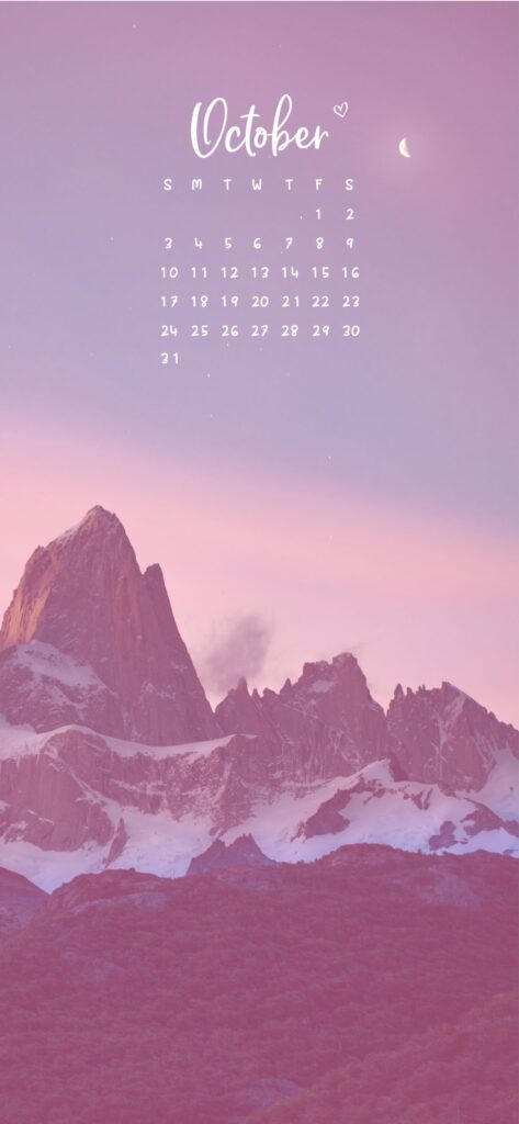 October Calendar Phone Wallpaper Background Mountain And Moon at dusk Scenery