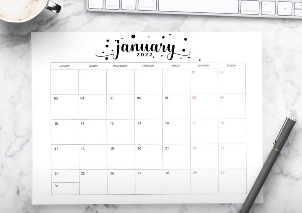 2022 Calendar Template Printable