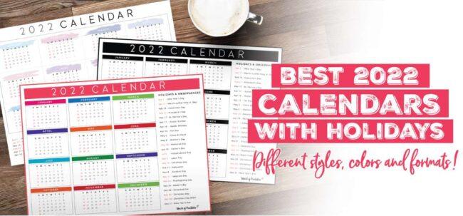 2022 Calendar with holidays