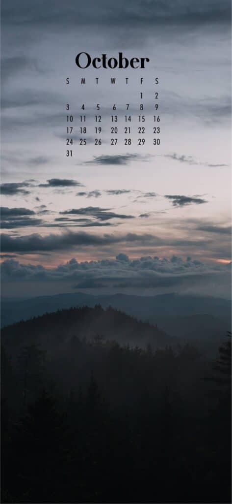 Foggy Mountain October Calendar Wallpaper