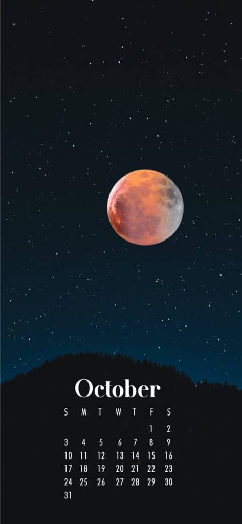 Moon October Calendar Wallpaper