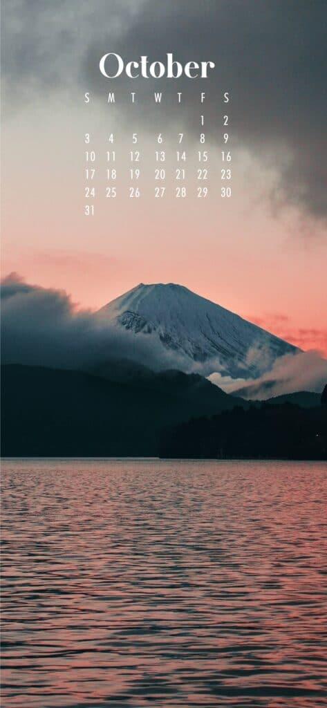 Mount Fuji October Calendar Wallpaper