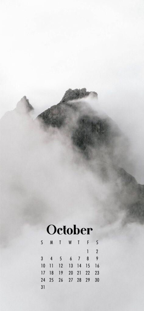 Mountain Top October Calendar Wallpaper