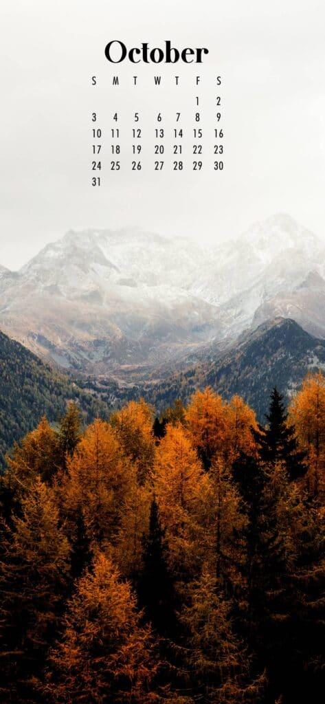 Mountains October Calendar Wallpaper