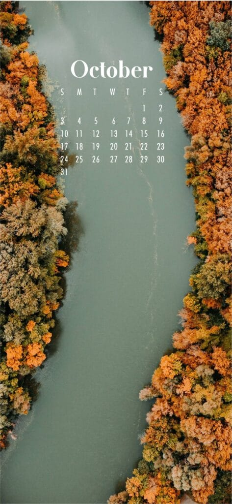 River October Calendar Wallpaper