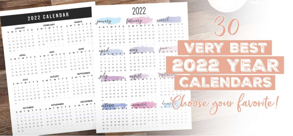 The Best 2022 Year Calendars - One Page Calendars for 2022