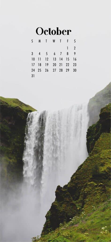 Waterfall October Calendar Wallpaper