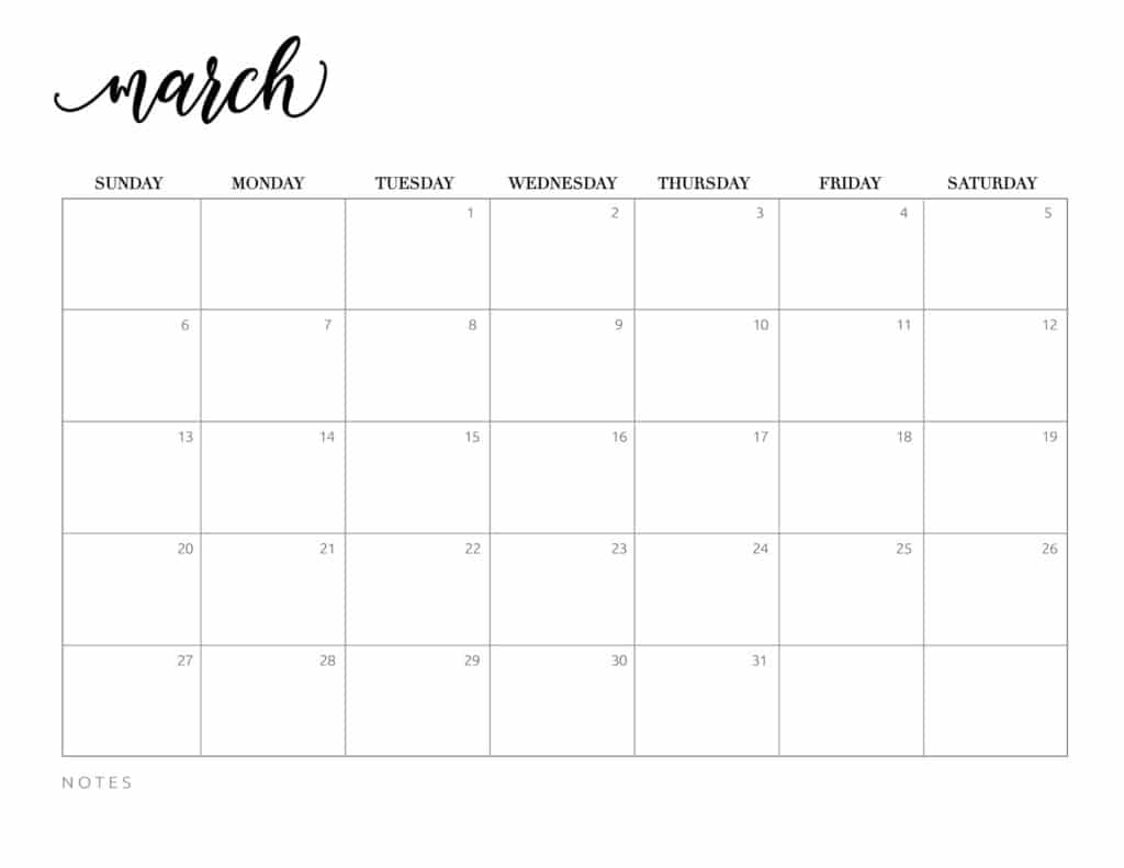 calendar 2022 printable free - March