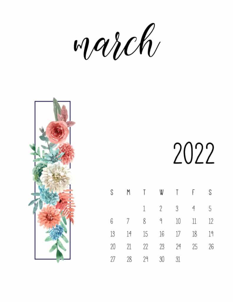 floral 2022 calendar - march