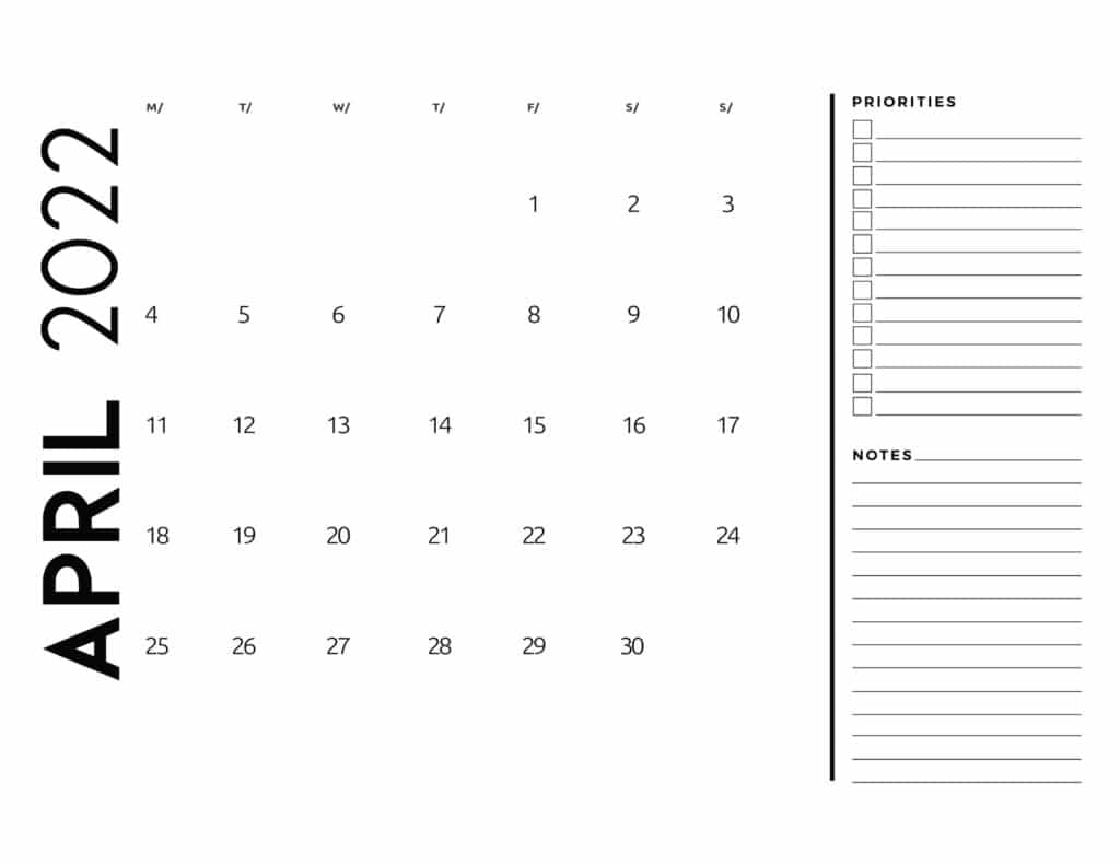 printable 2022 monthly calendar - April