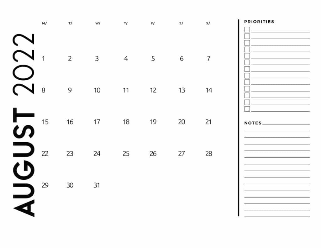 printable 2022 monthly calendar - August