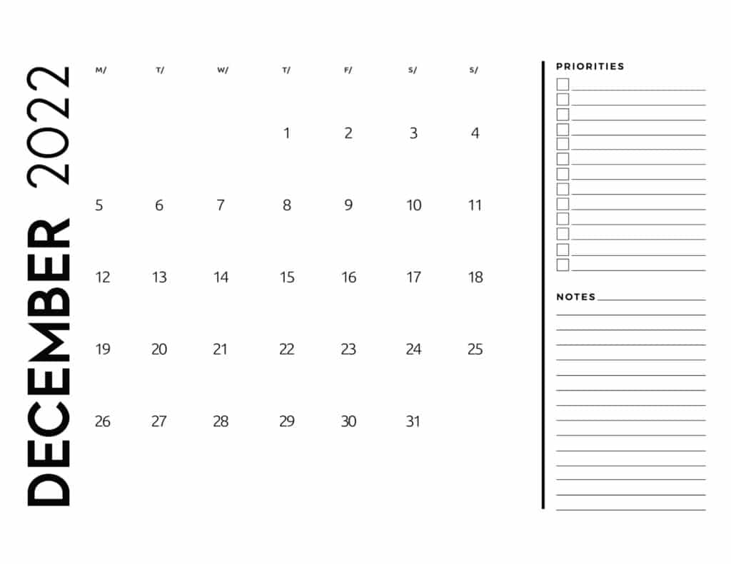 printable 2022 monthly calendar - December