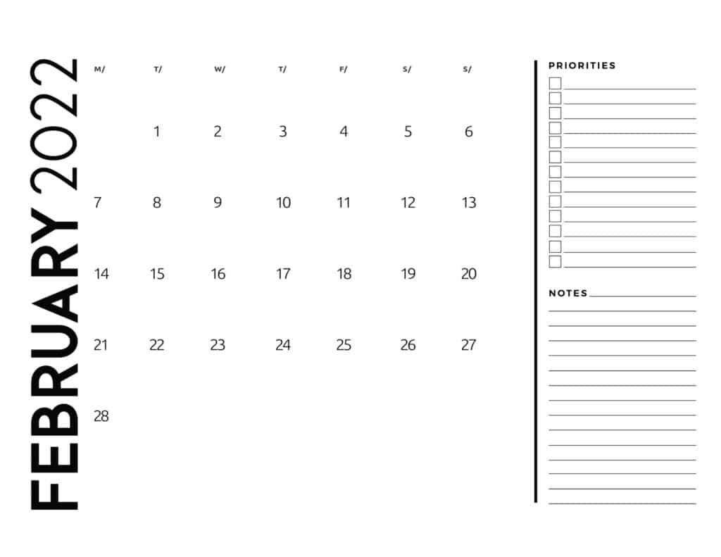 printable 2022 monthly calendar - February