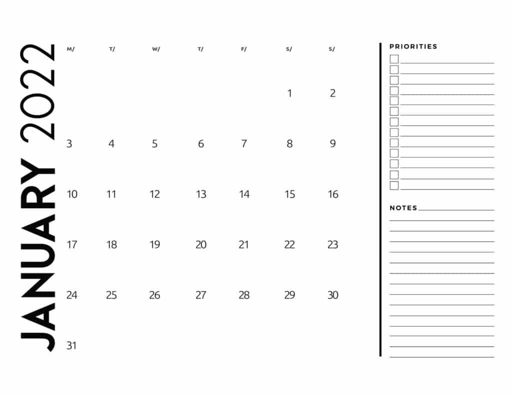 printable 2022 monthly calendar - January