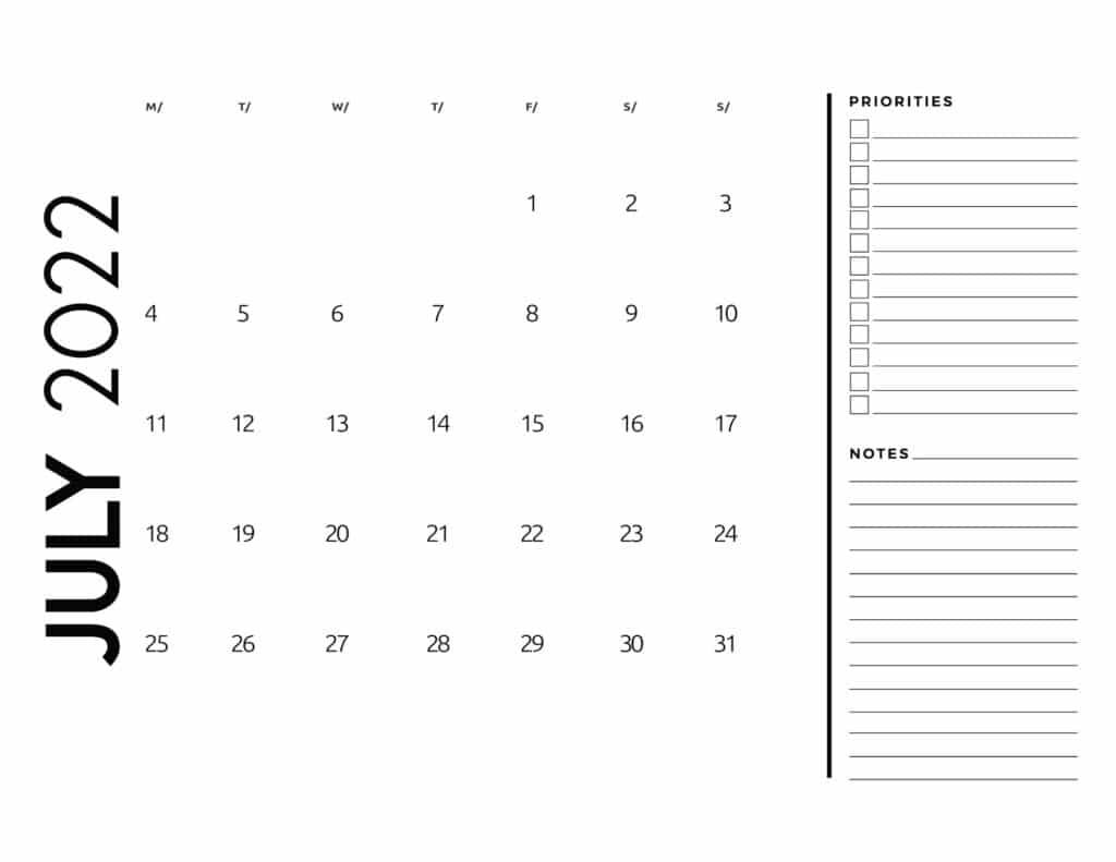 printable 2022 monthly calendar - July