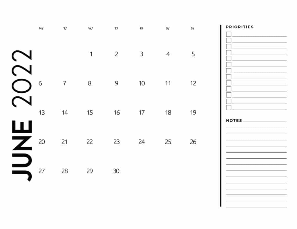 printable 2022 monthly calendar - June