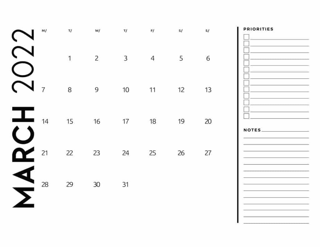 printable 2022 monthly calendar - March