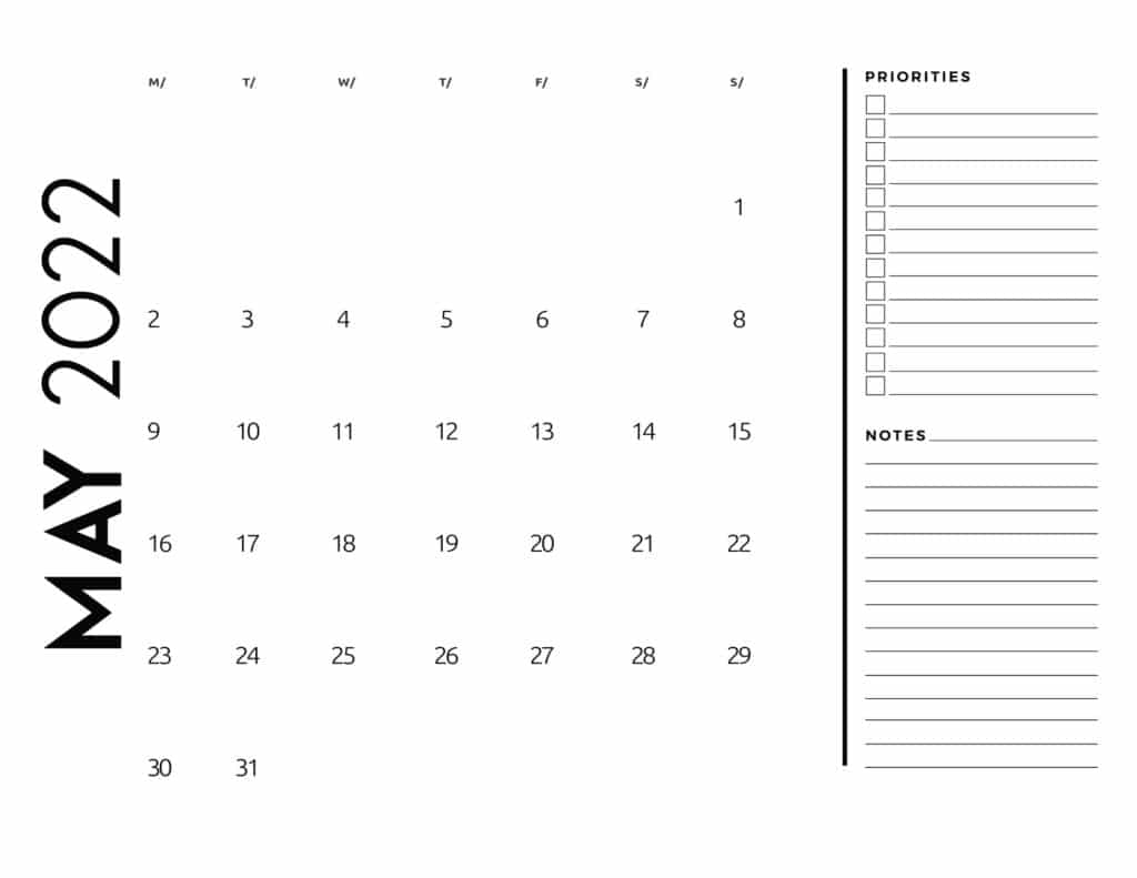 printable 2022 monthly calendar - May