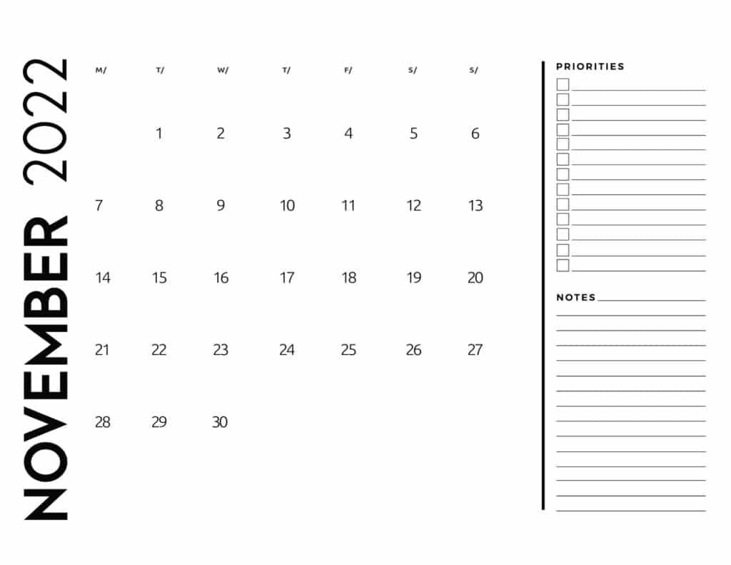 printable 2022 monthly calendar - November