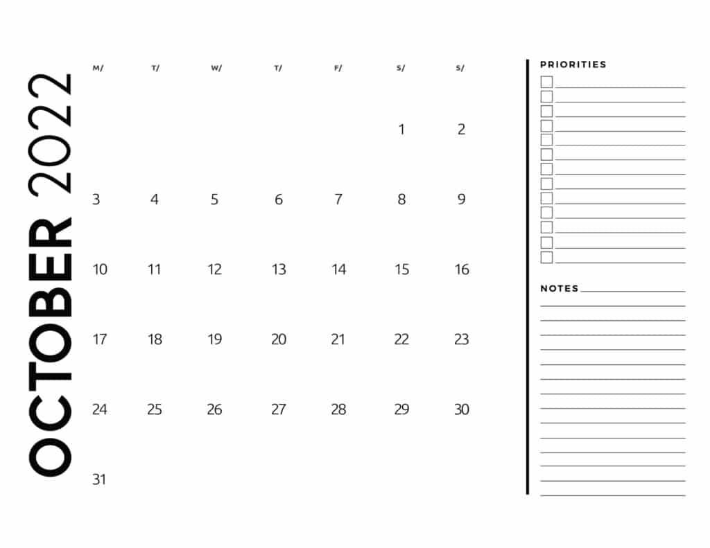 printable 2022 monthly calendar - October