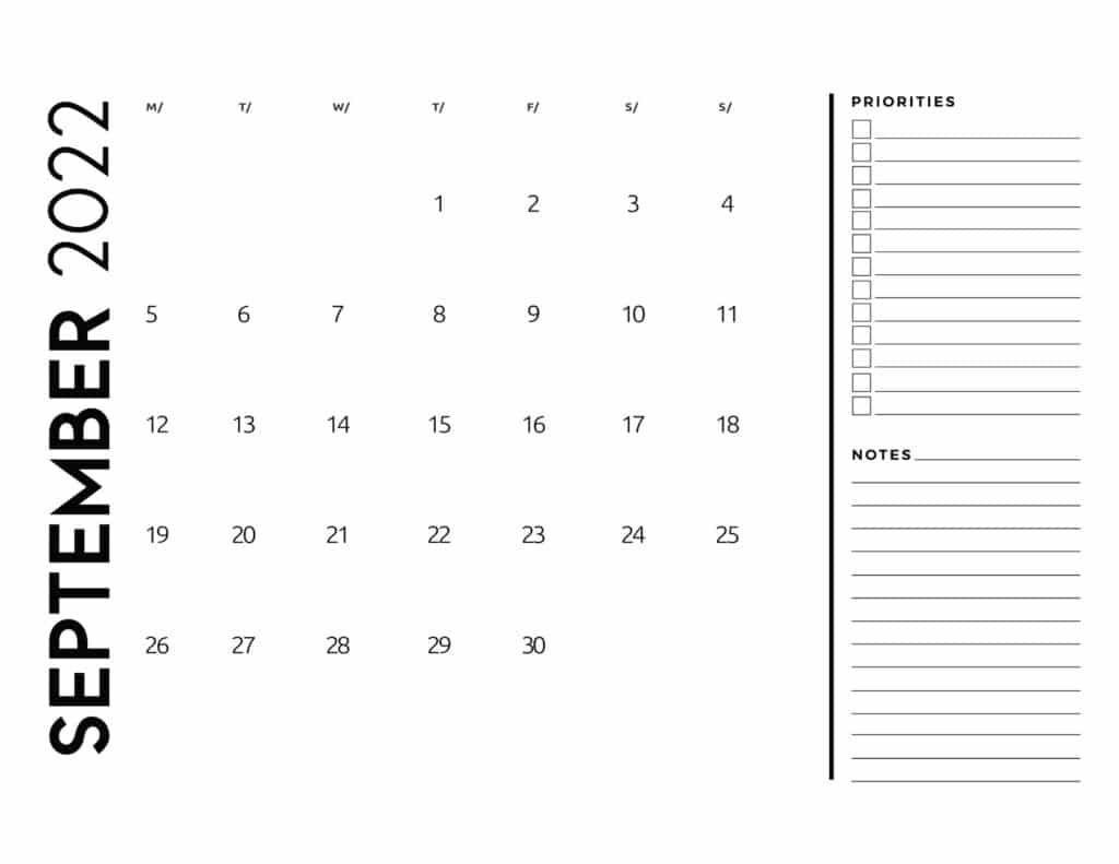 printable 2022 monthly calendar - September